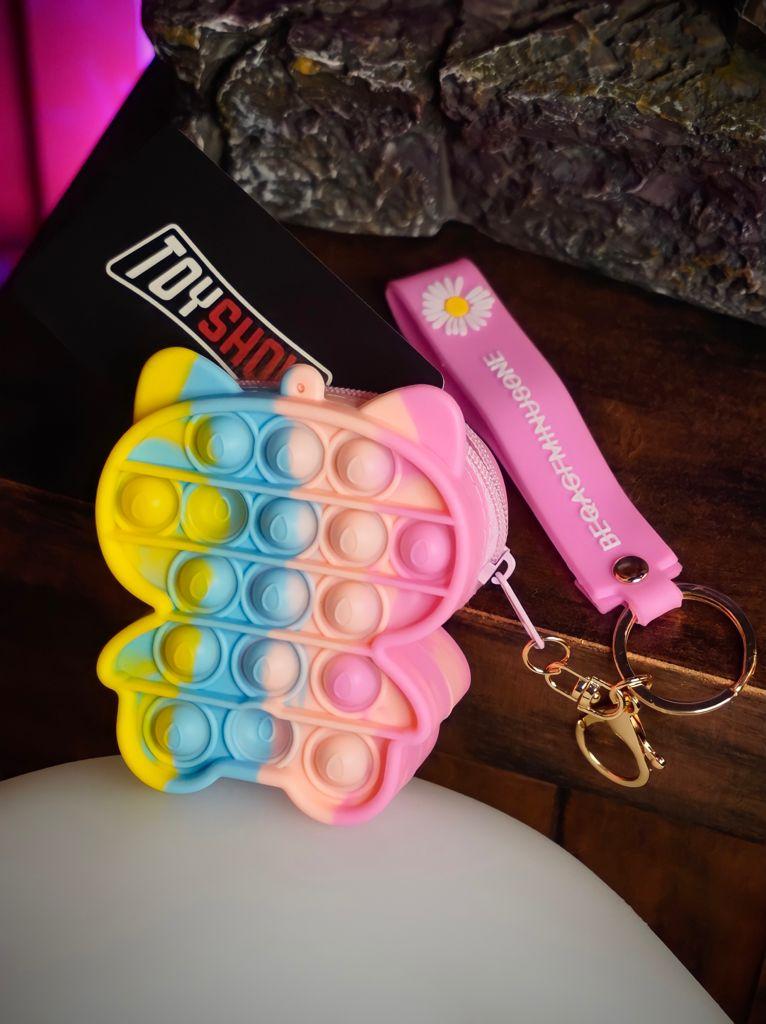 Bolsa Gato Prime Rosa Azul e Amarelo Anti Estresse Pop It Fidget Tube Stress Ball Wacky Track Squish SquishMallow