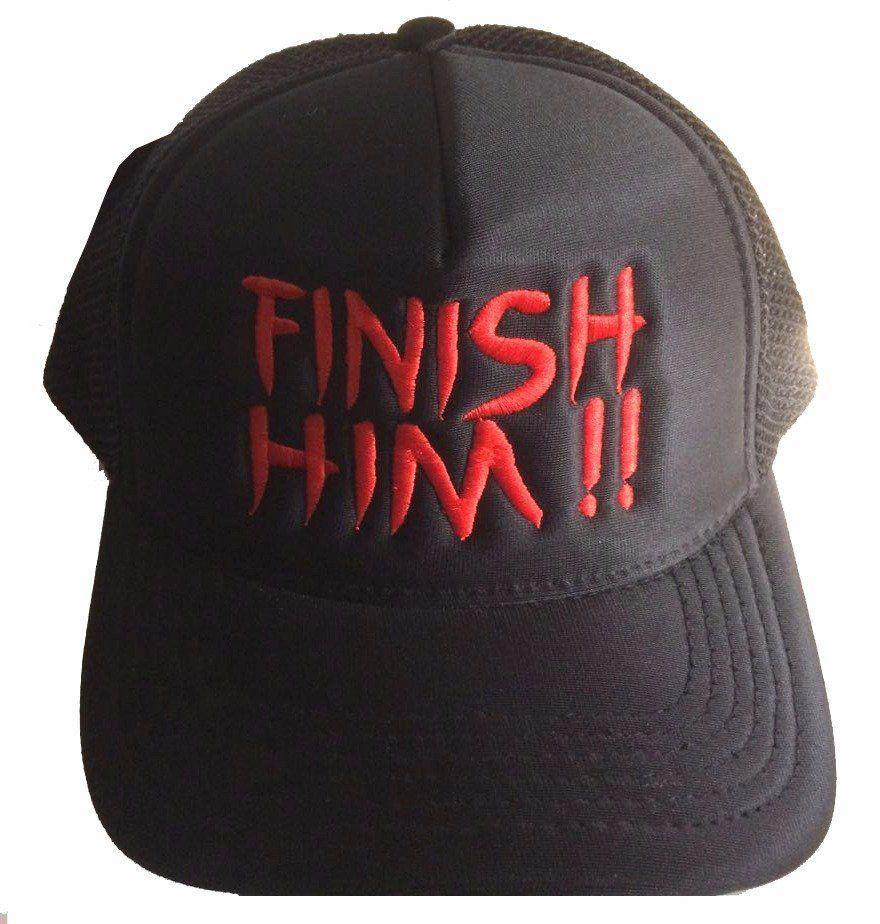 Boné Aba Curva: Mortal Kombat - Finish Him !! - Preto