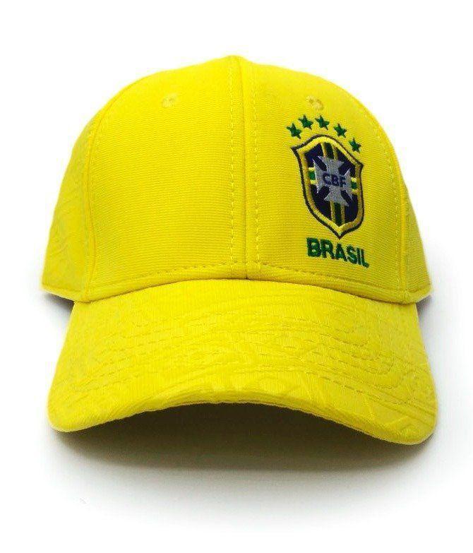 Boné Aba Curva: Seleção Brasileira (Escudo Bordado) - Copa Do Mundo Rússia 2018 (Amarelo)