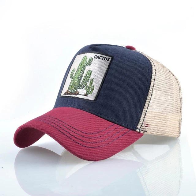 Boné Trucker Aba Curva  Cactos Cactus  Plantas (Azul e Vermelho) - EVALI