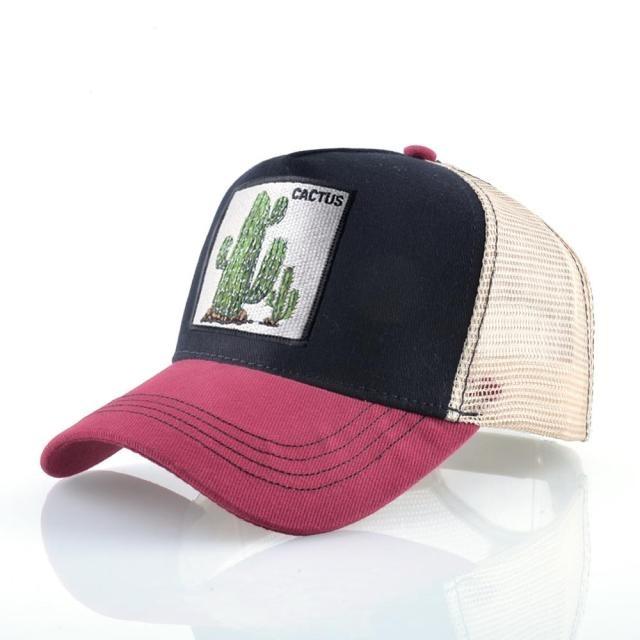 Boné Trucker Aba Curva  Cactos Cactus  Plantas (Preto e Vermelho) - EVALI