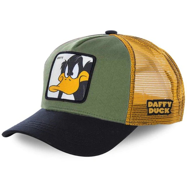 Boné Trucker Aba Curva Patolino Daffy Duck  Looney Tunes (Verde e Preto) - EVALI
