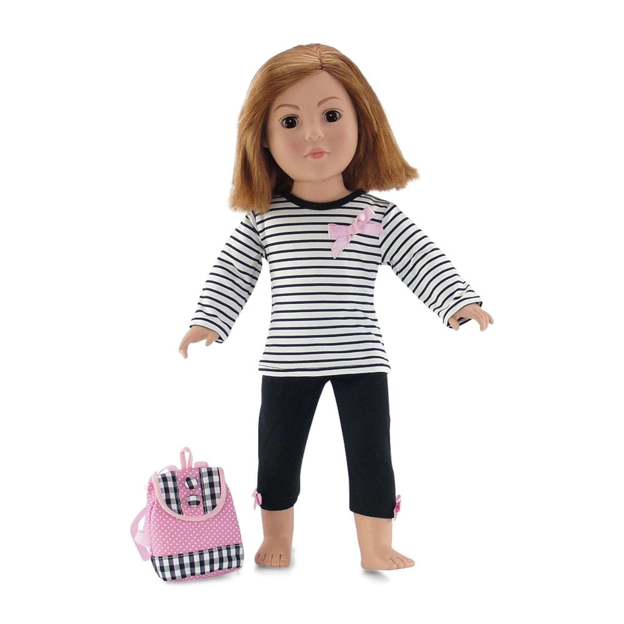 Boneca American Girl: Blusa Listrada e Legging (Preto e Branco) (Apenas Venda Online)