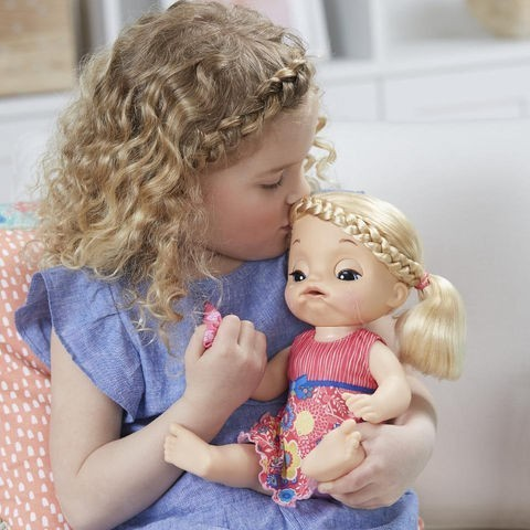 Boneca Baby Alive Sweet Tears Baby Doll Blonde Hair com Uniforme Pink (with Pink Outfit)