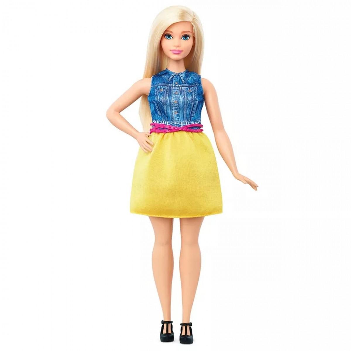 Boneca Barbie Fashionista (Loira de Vestido Azul e Amarelo)
