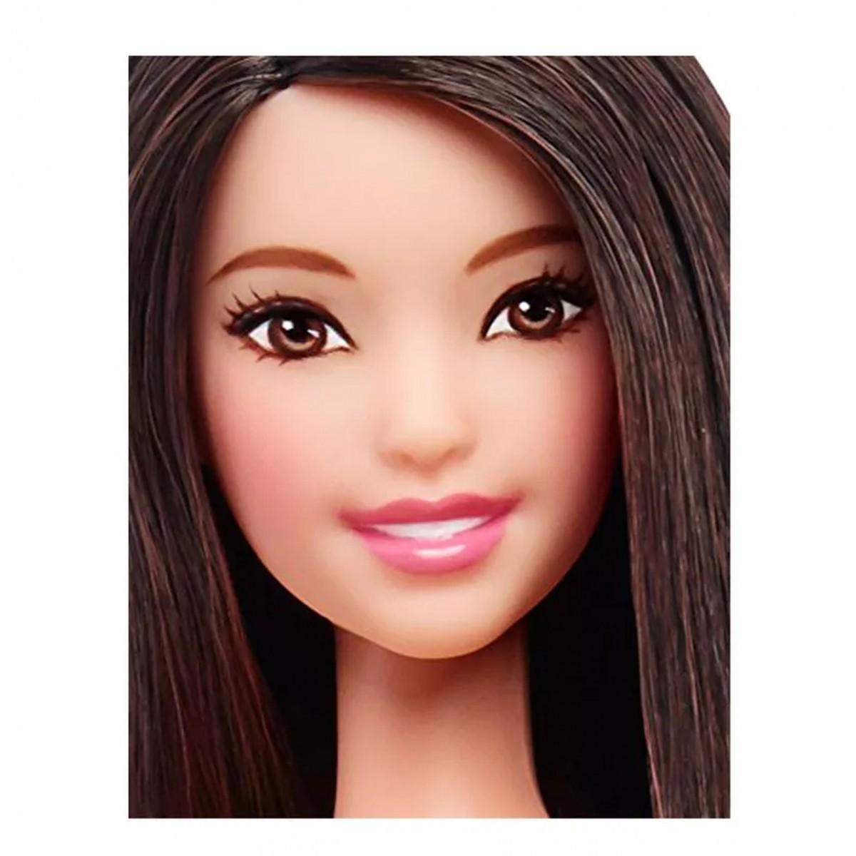 Boneca Barbie Fashionista (Morena de Vestido Rosa e Branco)