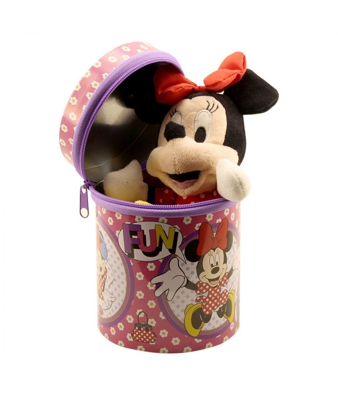 Boneca Chaveiro Minnie Mouse Vestido Vermelho na Lata - Disney