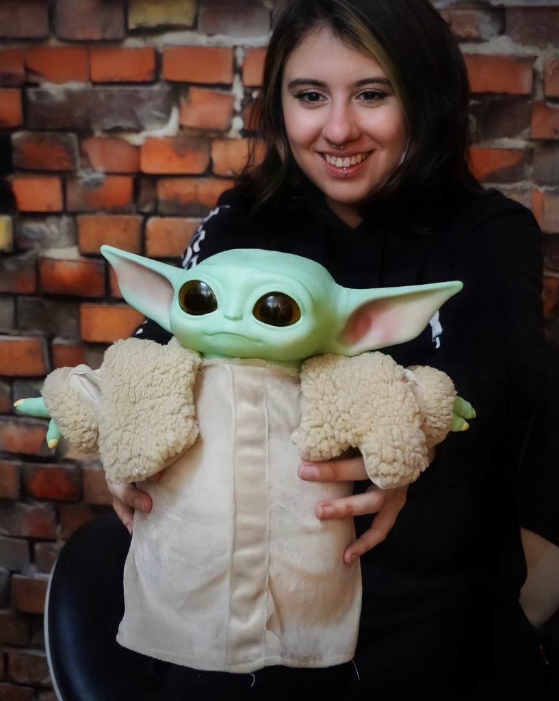 Boneco Baby Yoda The Child Grogu: O Mandaloriano The Mandalorian Star Wars: 30cm (Life Size) Disney+ - EV