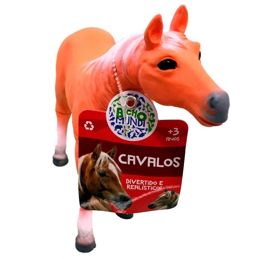 Boneco Cavalo (Laranja e Branco): Bicho Mundi - DTC