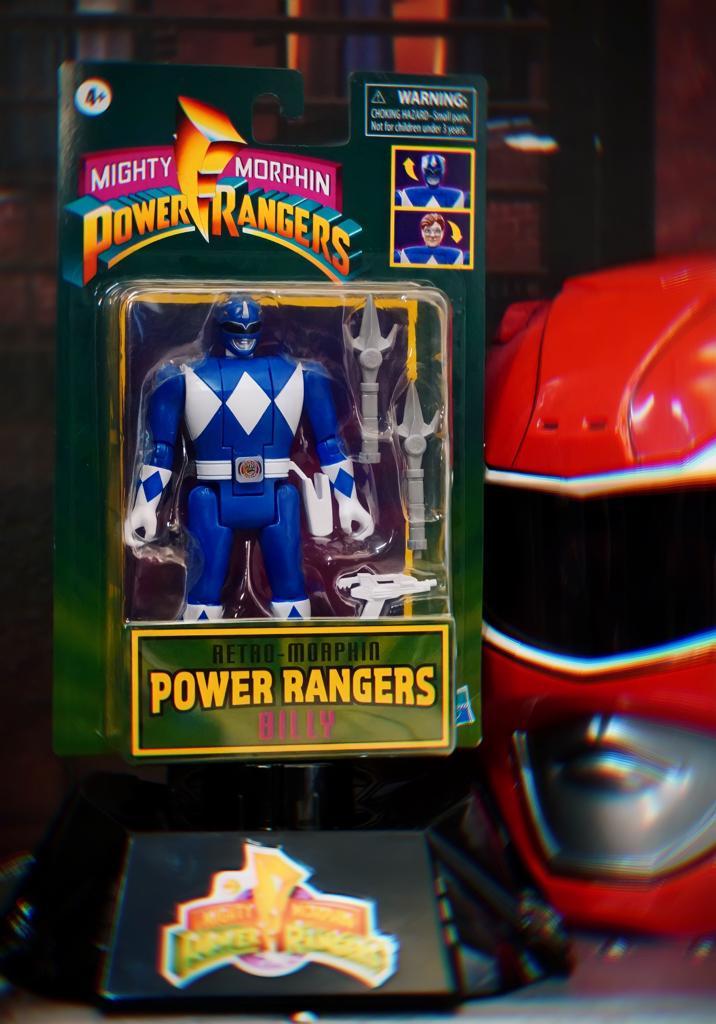 Boneco Colecionável Action Figure Ranger Azul Blue Billy: Mighty Morphin Power Rangers Vira Cabeça Retro - Hasbro