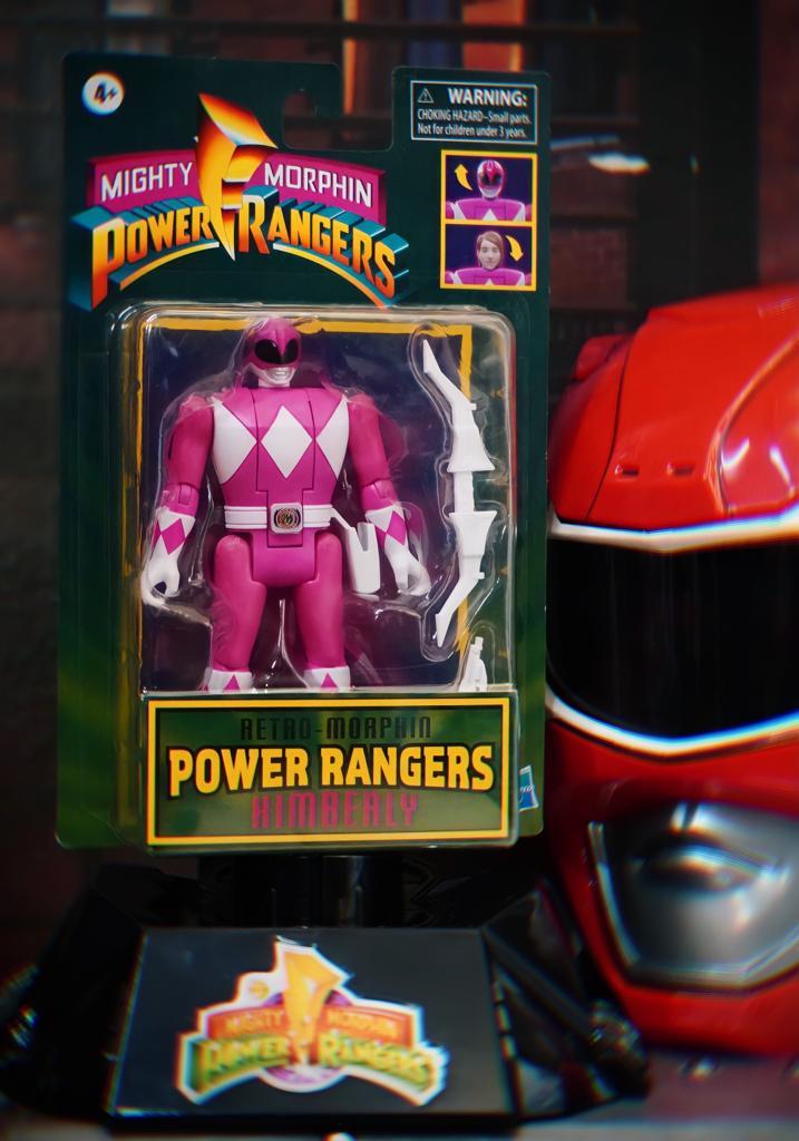 Boneco Colecionável Action Figure Ranger Rosa Pink Kimberly: Mighty Morphin Power Rangers Vira Cabeça Retro - Hasbro