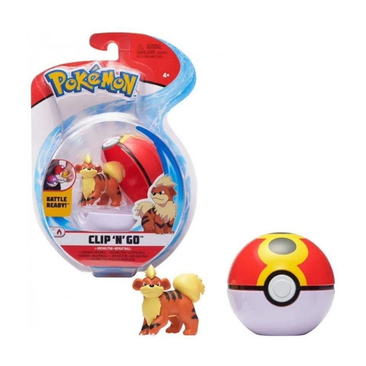 Boneco Growlithe e Bola Repetição Repeat Ball: Pokémon (Clip'n'Go) - Sunny