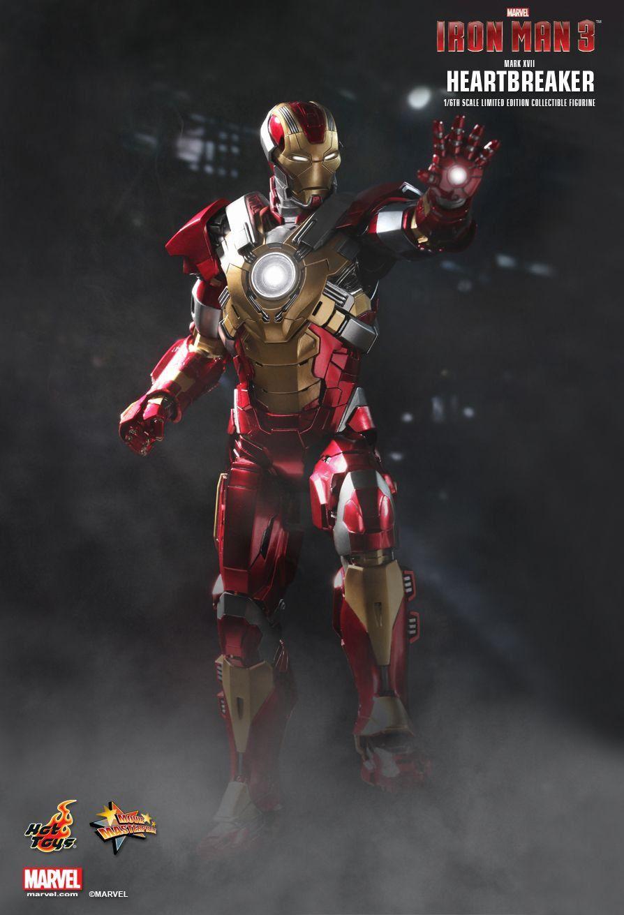 Action Figure Homem de Ferro Heartbreaker (Mark XVII): Homem de Ferro 3 (Iron Man 3) (Escala 1/6) (MMS212) - Hot Toys