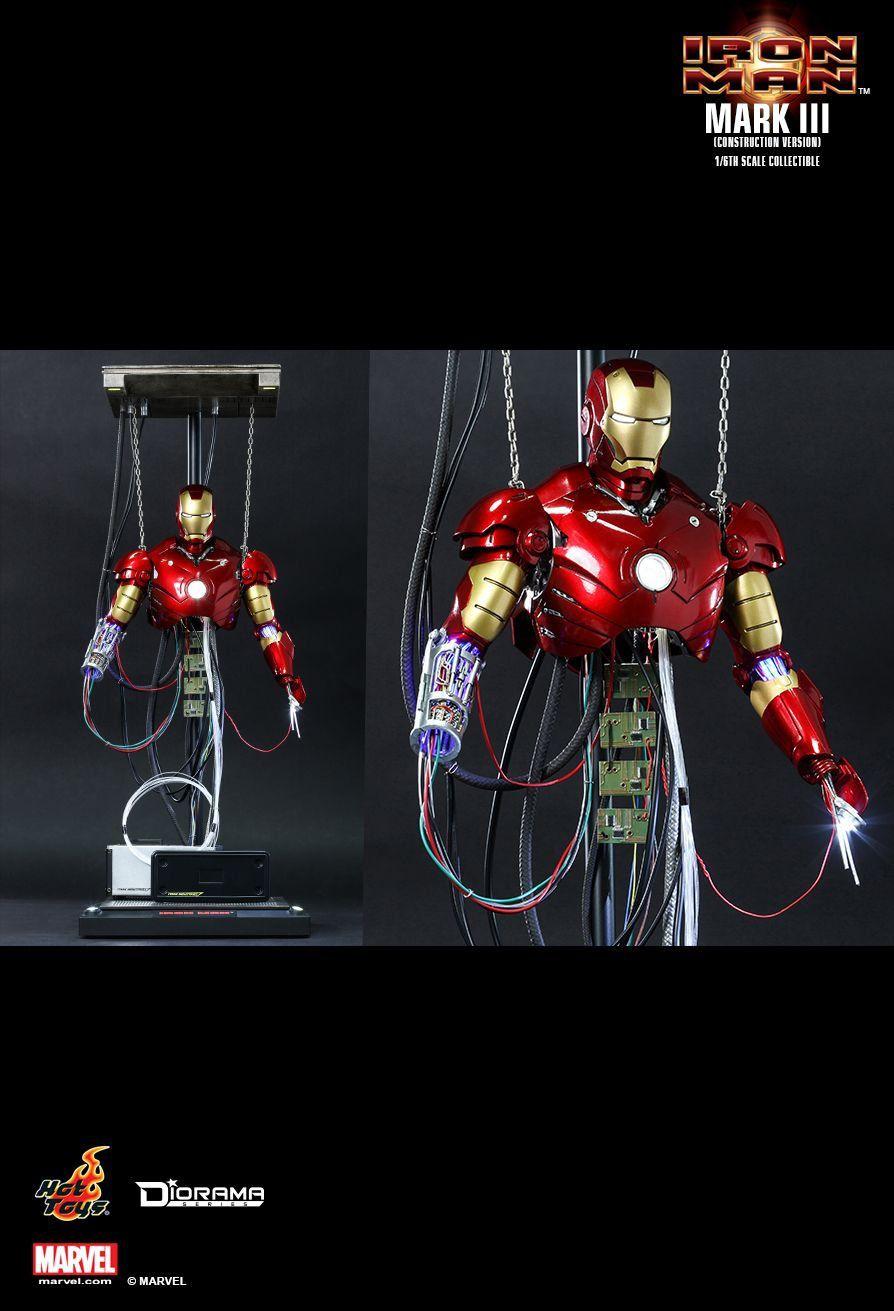 Boneco Homem de Ferro (Iron Man) Mark III Construction Version: Homem de Ferro (Iron Man) Escala 1/6 (DS003) - Hot Toys - CG