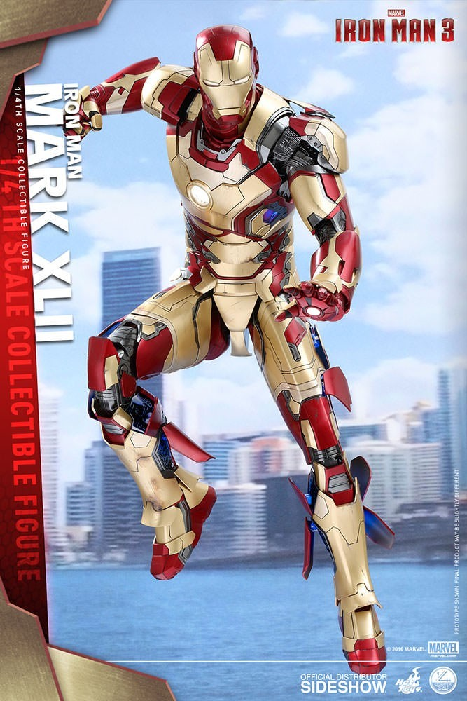 Action Figure Homem de Ferro (Iron Man) Mark XLII: Homem de Ferro 3 (Iron Man 3) Escala 1/4 (QS007) - Hot Toys