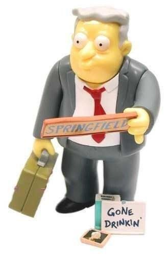 Boneco Larry Burns (World Of Springfield Interactive Figure): Os Simpsons (The Simpsons) - PlayMates - CG