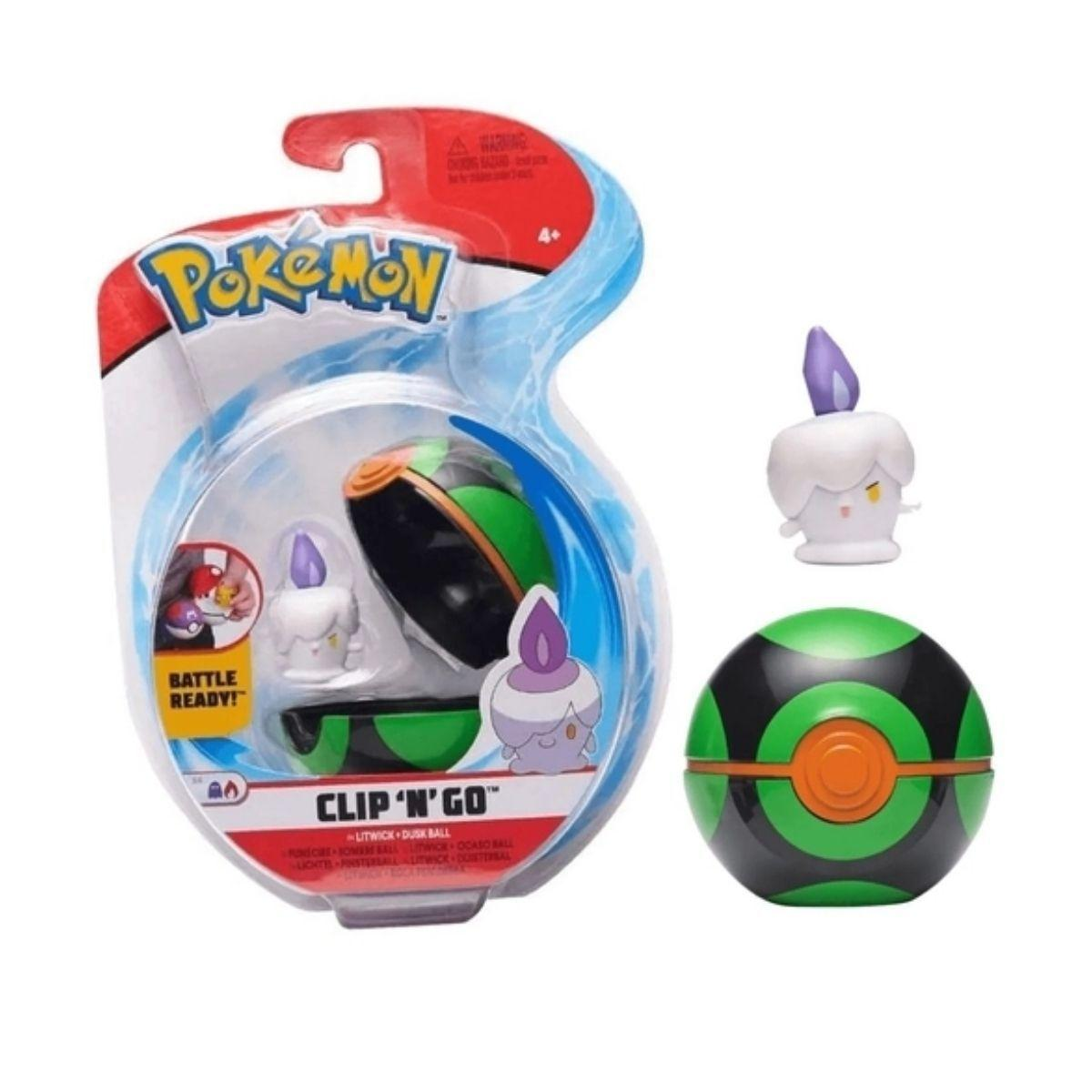 Boneco Litwick e Bola Crepúsculo Dusk Ball: Pokémon (Clip'n'Go) - Sunny
