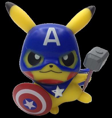 Boneco Pikachu Capitão América:  Pokevengers (Pokemon) (Avengers Vingadores)