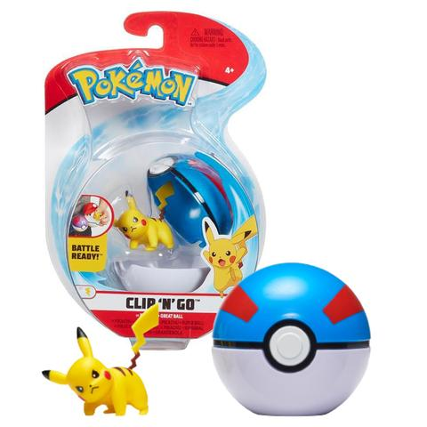Boneco Pikachu e Bola Grande Great Ball: Pokémon (Clip'n'Go) - Sunny