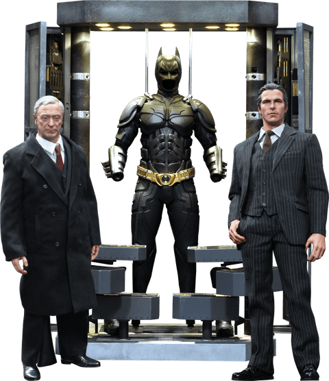 Action Figure Bruce Wayne & Alfred (Batman Armory): Batman: O Cavaleiro das Trevas (The Dark Knight) Escala 1/6 (MMS236) - Hot Toys ( Faltando peças)