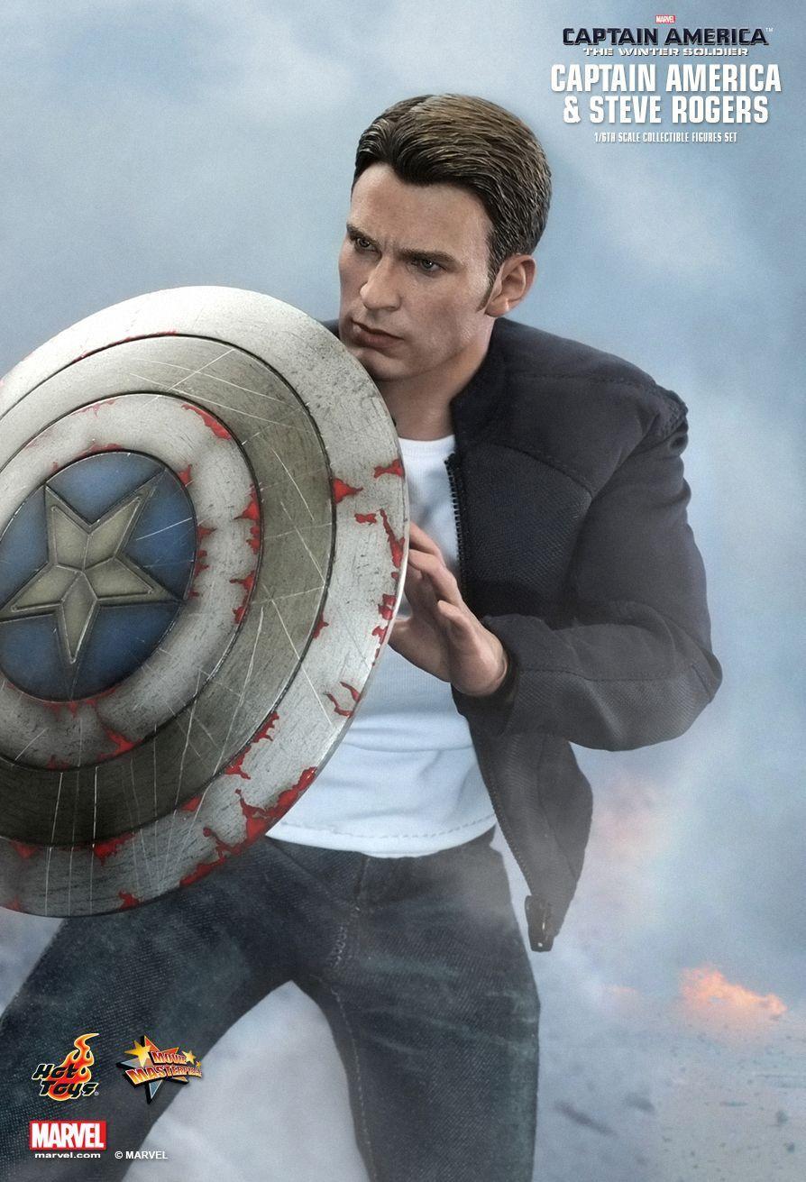 Bonecos Capitão América & Steve Rogers (Captain America & Steve Rogers): Capitão América O Soldado Invernal (The Winter Soldier) Escala 1/6 (MMS243) - Hot Toys - CG