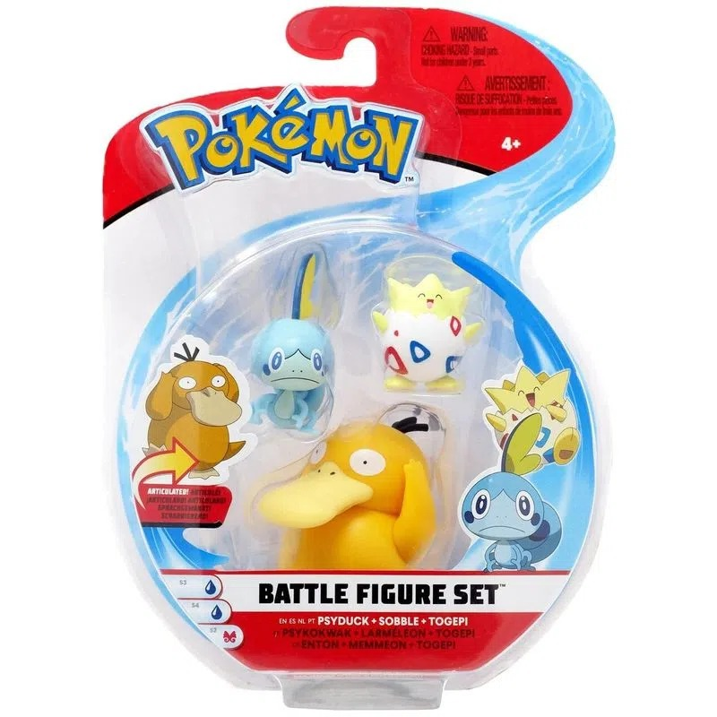 Bonecos Psyduck, Sobble e Togepi: Pokémon (Battle Figure Set) - Sunny