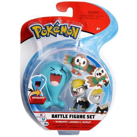 Bonecos Wobbuffet Jangmo-o & Rowlet: Pokémon (Battle Figure Set) - DTC