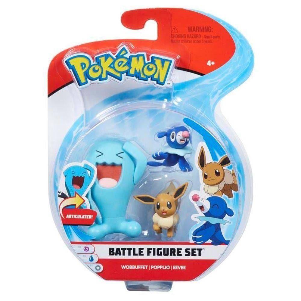 Bonecos Wobbuffet Popplio & Eevee: Pokémon (Battle Figure Set) - DTC
