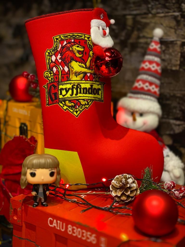 "Bota ""Grifinória (Gryffinfor)'' Enfeite de Natal Porta Presentes"