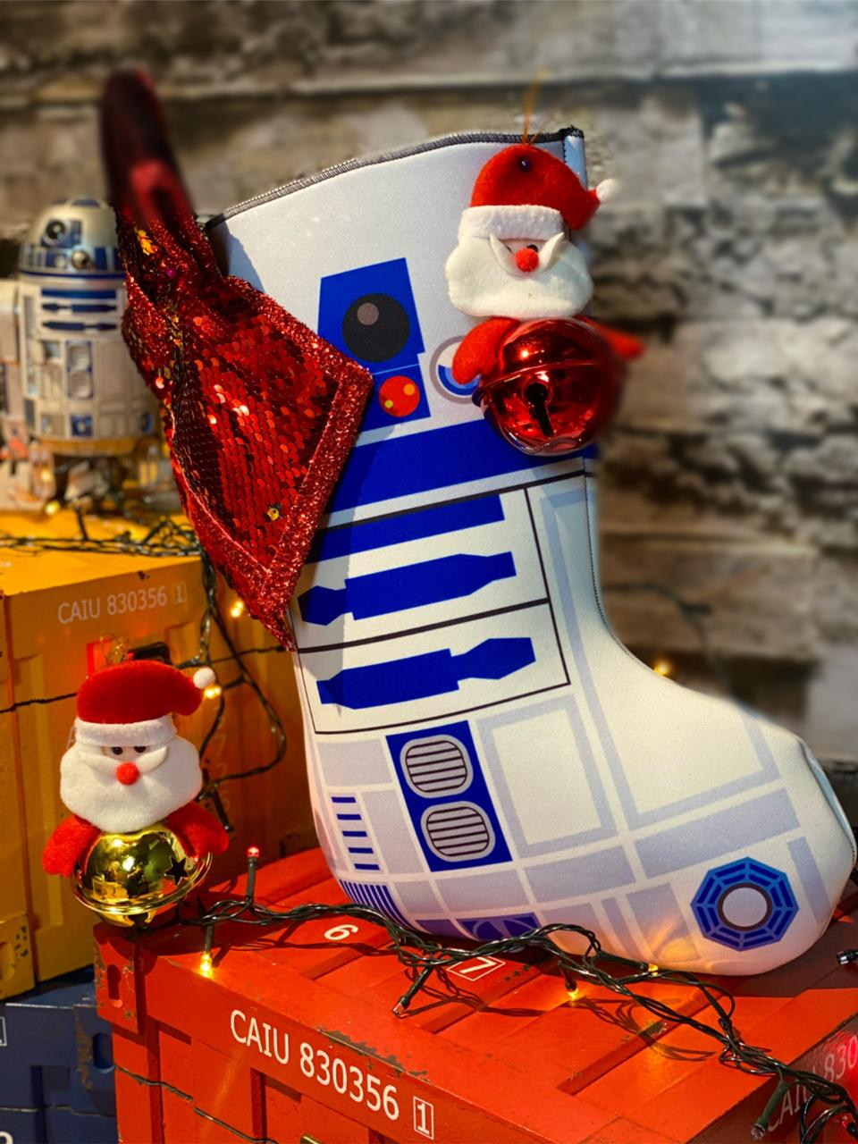 "Bota ""R2-D2"" Enfeite de Natal Porta Presentes: Star Wars"