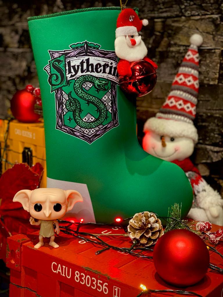 "Bota ""Sonserina (Slynterin)'' Enfeite de Natal Porta Presentes - Harry Potter"