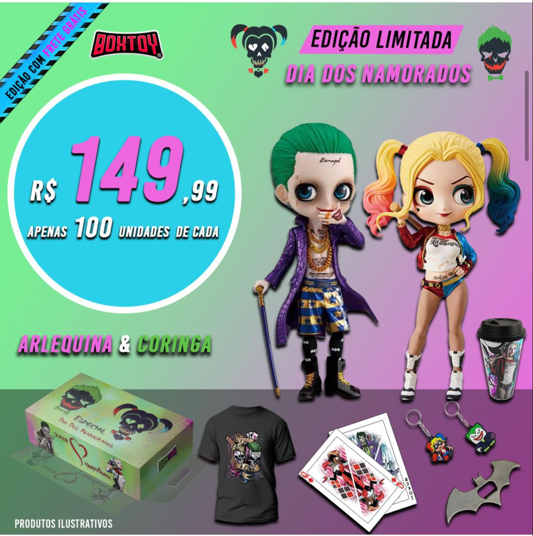 Boxtoy Dia Dos Namorados DC Joker e Harley Quinn - 5 Produtos