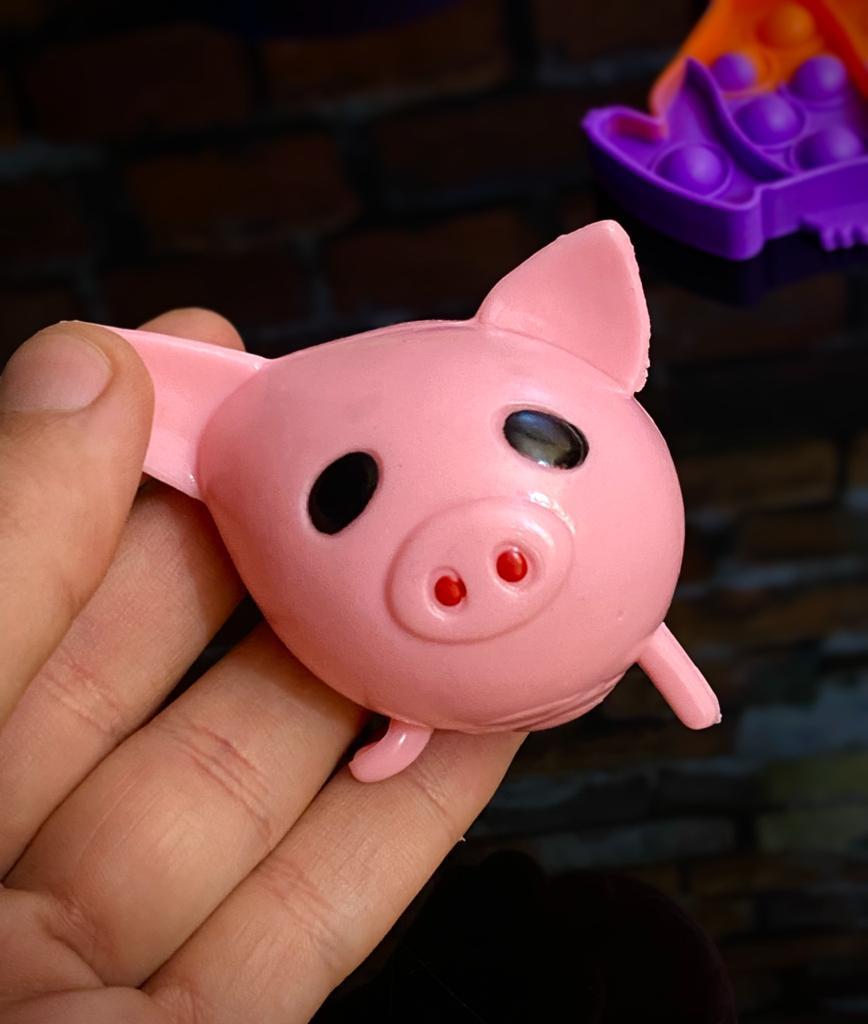Brinquedo Anti Estresse de Apertar Porco Porquinho Rosa Pop It Fidget Bubble Bolha Pop Tube Stress Ball Wacky Track Squish SquishMallow