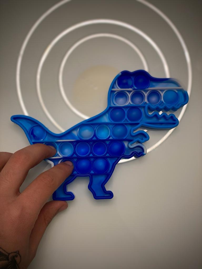 Brinquedo Prime Raro Anti Estresse Pop It Fidget Bubble Bolha Dinossauro T-Rex Sensorial de Alívio de Stress Tie Dye Azul