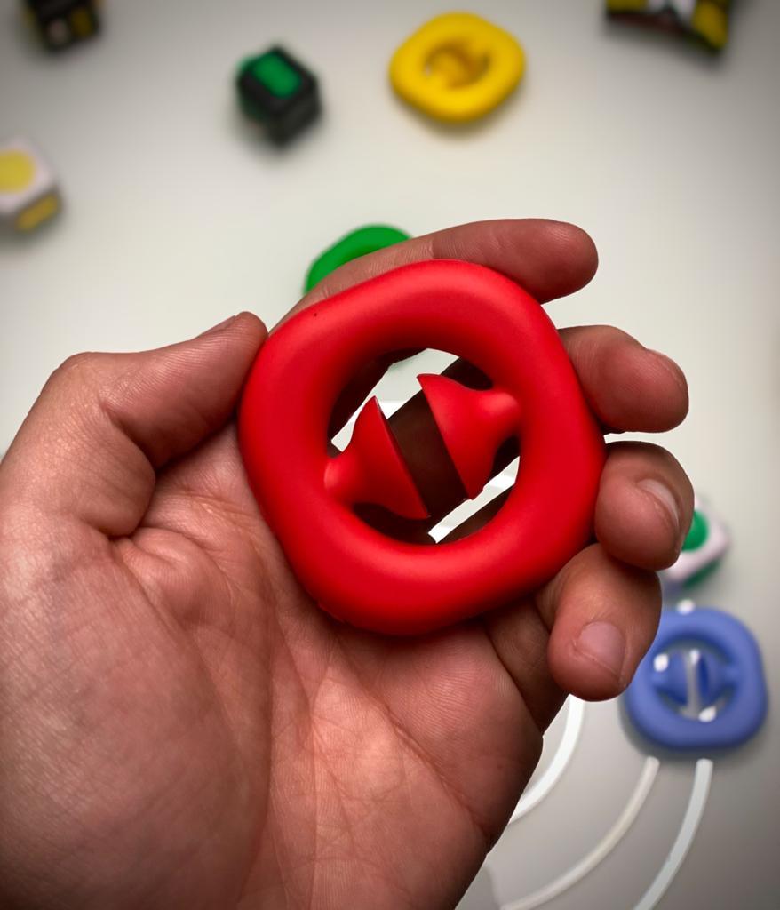 Brinquedo Anti Estresse Fidget Círculo Com Ventosa Vermelho