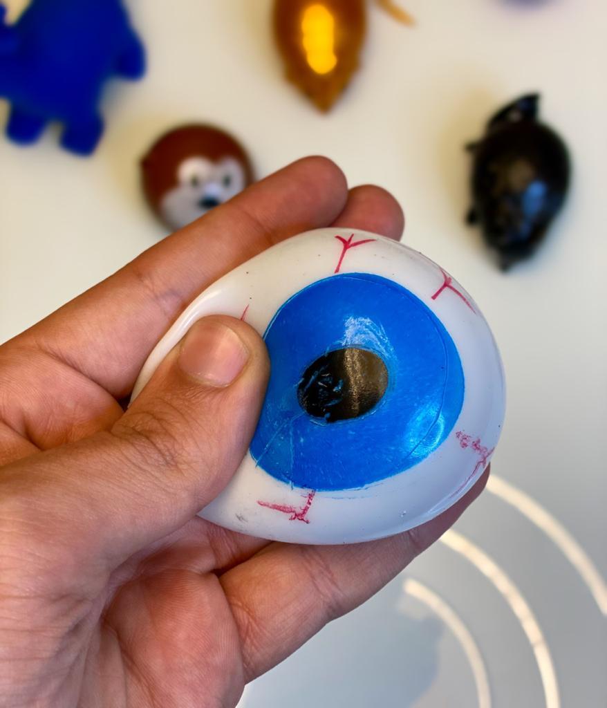 Brinquedo Anti Estresse Fidget Olho Splash de Gel Apertar Sensorial de Alívio de Stress Azul