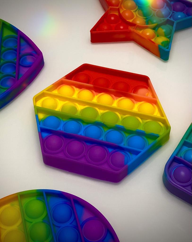 Brinquedo Prime Raro Anti Estresse Pop It Fidget Bubble Bolha Hexágono Sensorial de Alívio de Stress Arco Íris