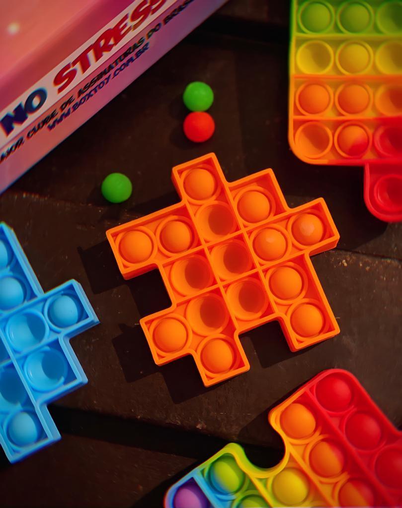 Brinquedo Anti Estresse Pop It Fidget Pop Tube Stress Ball Wacky Track SquishMallow Bubble Bolha Peça de Montar Quebra Cabeça Laranja Sensoria Sensorial de Alívio de Stress