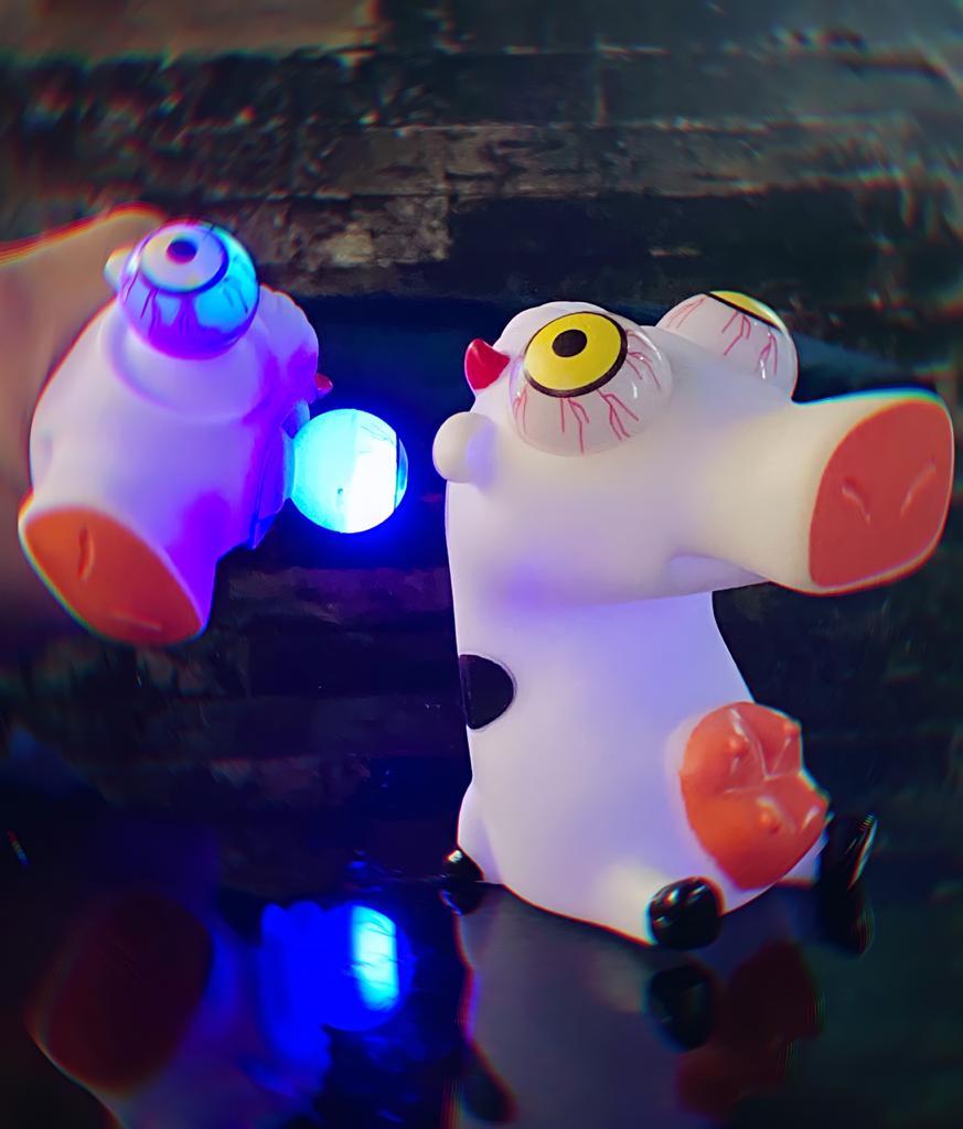 Brinquedo Anti Estresse Pop It Fidget Pop Tube Stress Wacky Track SquishMallow Crazy Pull Eyes Toys Cow: Vaca Com Led MKP