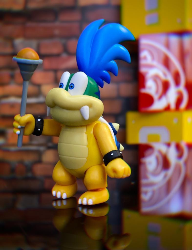 Brinquedo Boneco Action Figure Larry Koopa e Cetro Magico: New Super Mario World - Jakks Pacific