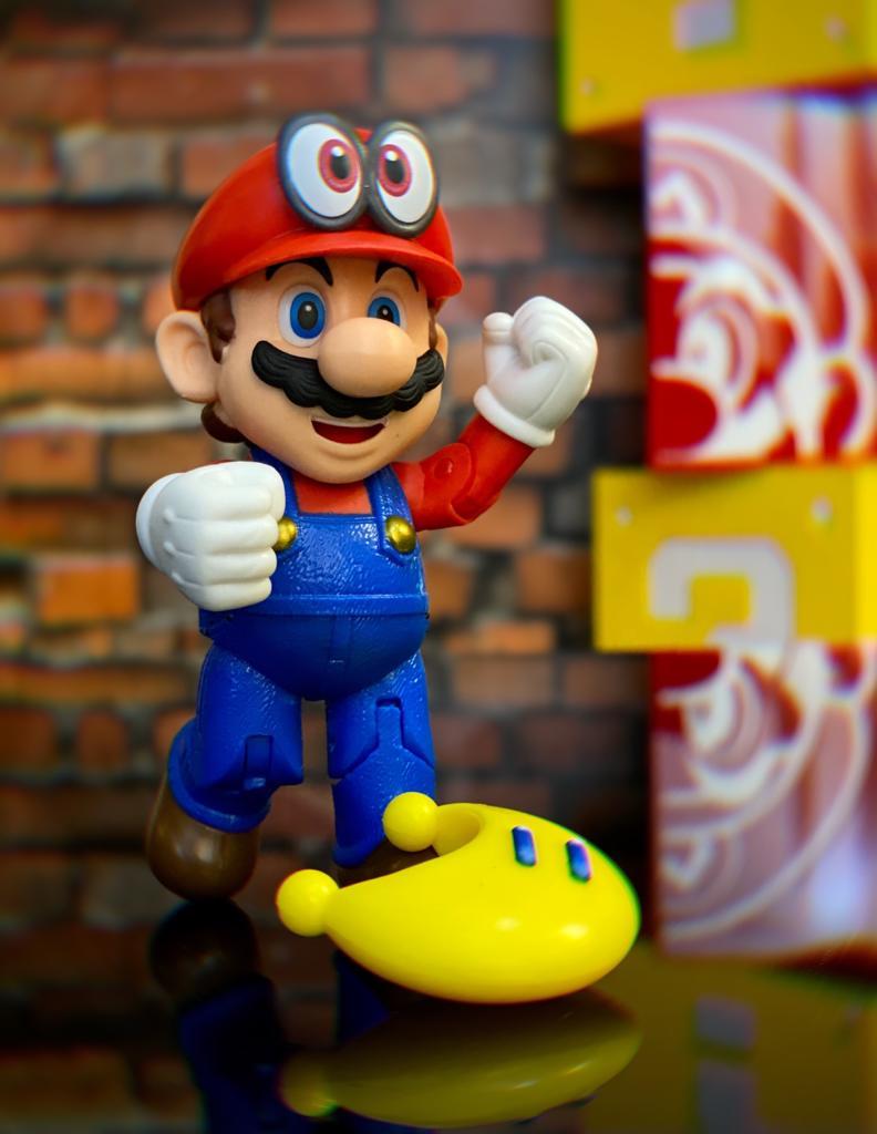 Brinquedo Boneco Action Figure Mario, Cappy e Lua Yellow Power Moon: Super Mario Odyssey - Jakks Pacific