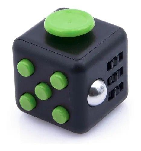 Brinquedo Fidget Pop Tube Stress Ball Wacky Track  SquishMallow Cube Spinner Preto com Verde - Rolamento Anti Estresse Fidget Cubo Cube Spinner