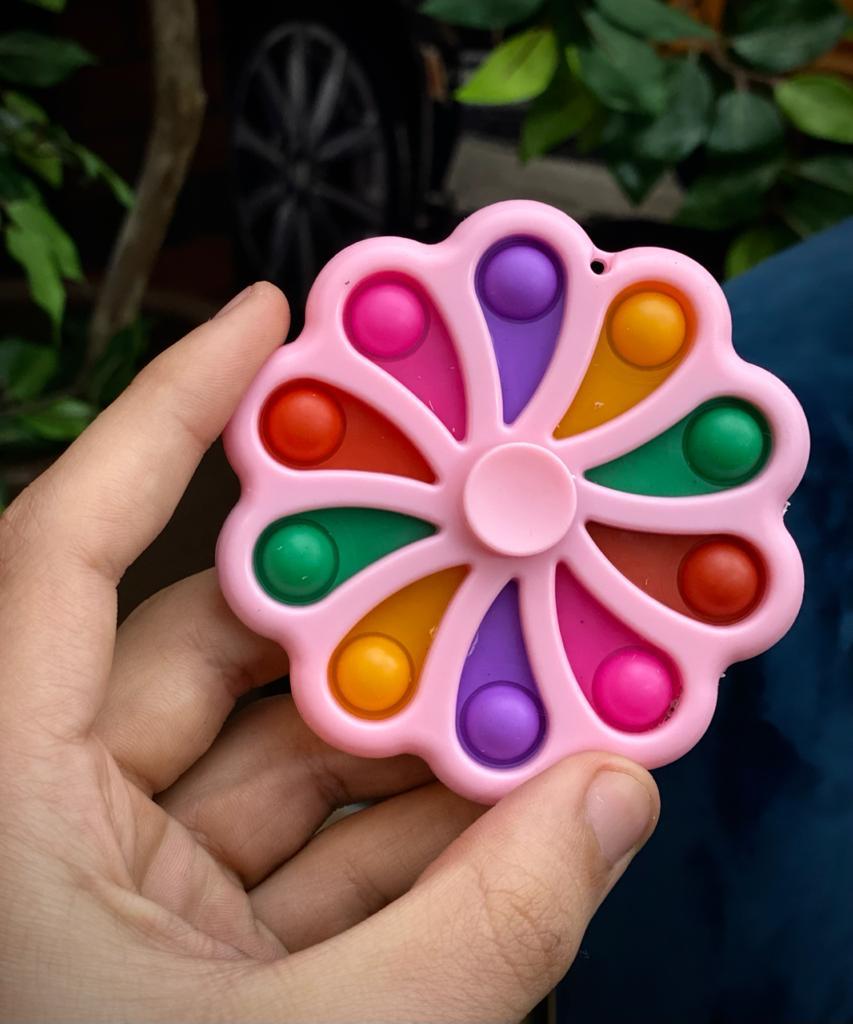 Brinquedo Hand Flor Rosa Spinner Anti Estresse Pop It Fidget Pop Tube Stress Ball Wacky Track SquishMallow Bubble Bolha Sensorial de Alívio de Stress