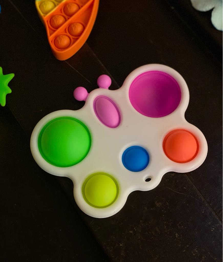 Brinquedo Prime Chaveiro Anti Estresse Pop It Fidget Bubble Bolha Pop Tube Stress Ball Wacky Track SquishMallow Borboleta Bolinhas Coloridas Sensorial de Alívio de Stress