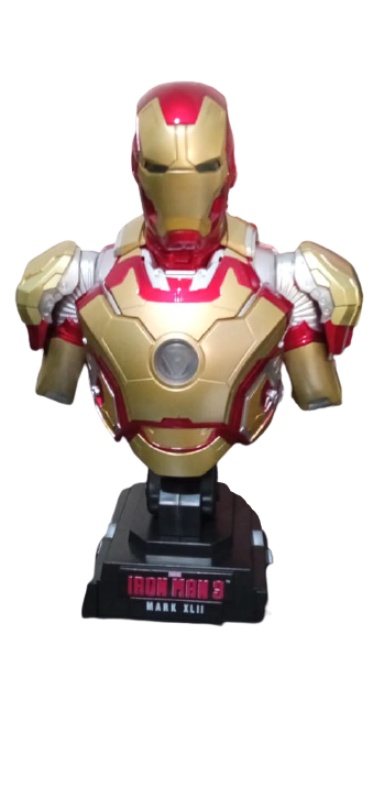 "Busto Com Led Homem de Ferro ""Mark 42"" (Iron Man Mark XLII) (HTB11) Escala 1/4"