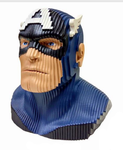 Estátua Busto MDF Colorido Capitão América (Captain America) Marvel Comics - EV