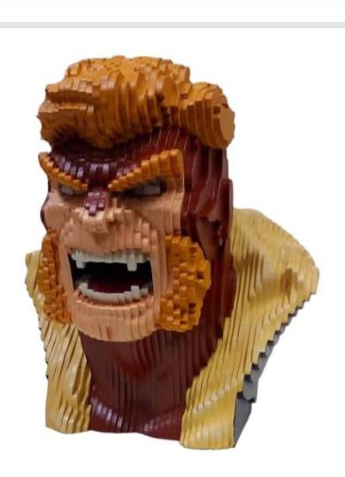 Busto MDF Colorido Dentes-de-Sabre (Sabretooth): X-Men (Marvel Comics)