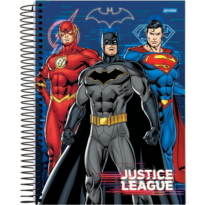 Caderno Universitários Geek Flash, Batman e Superman: Dc Comics 10x1 - 200 Folhas - Jandaia