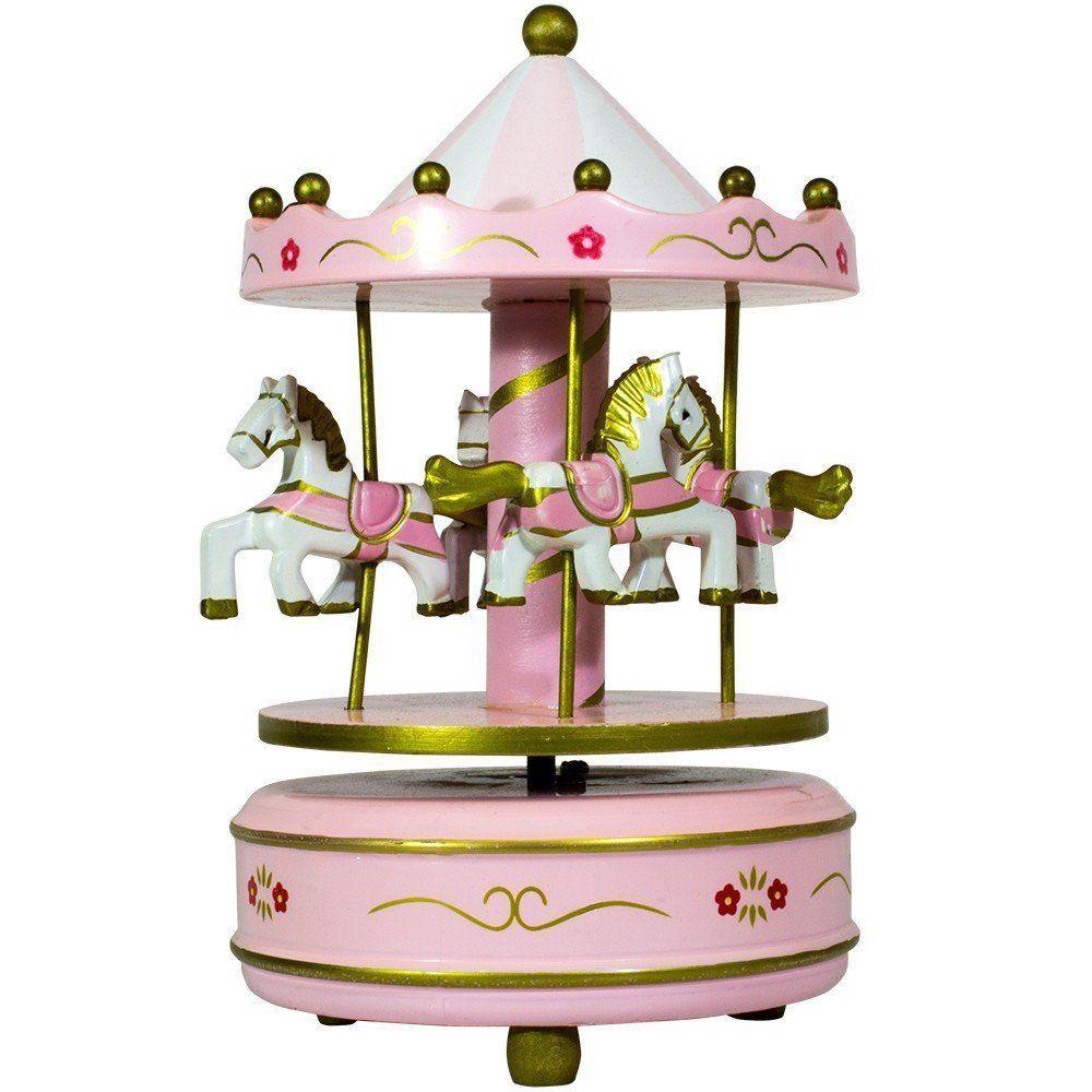 Caixa de Música Carrossel Giratório Rosa