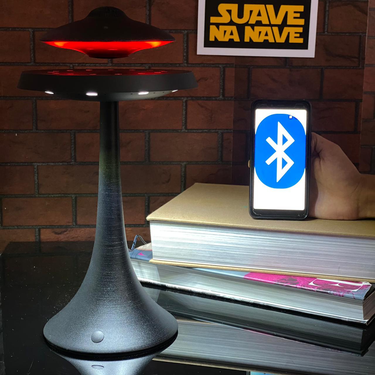Caixa de Som Bluetooth Disco Voador UFO Nave Alienígena Magnético Flutuante Preto